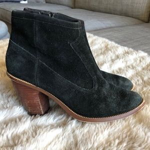 Hinge Black Suede Bootie Western Ankle Boots